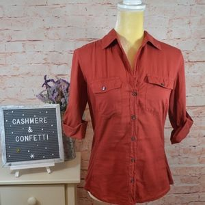 James Perse Contrast Button Down Front Blouse A6